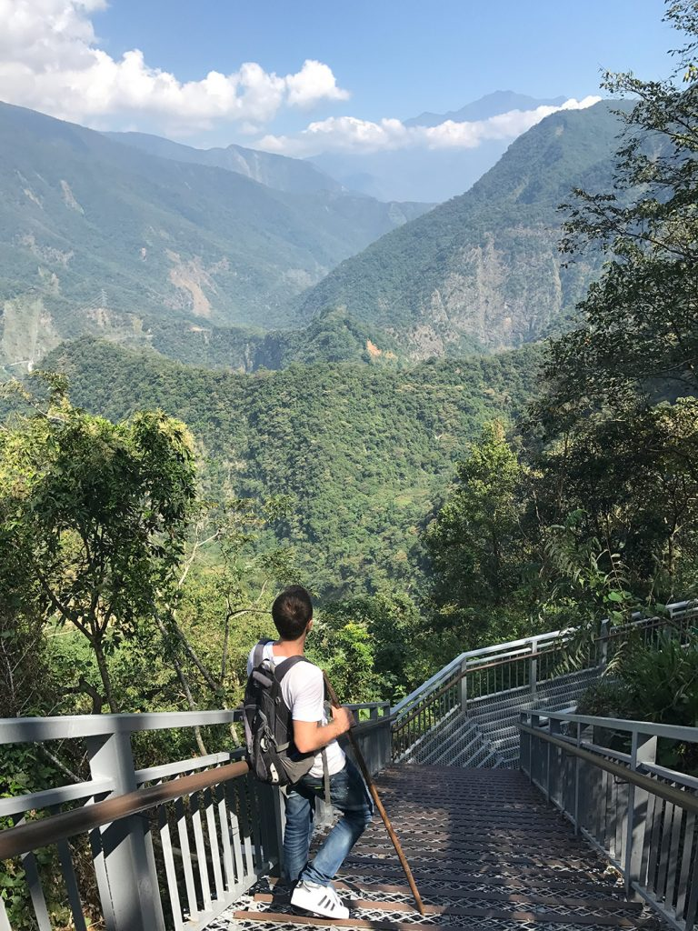 Danny Flood hiking at Double Dragon falls, Nantou County, Taiwan.