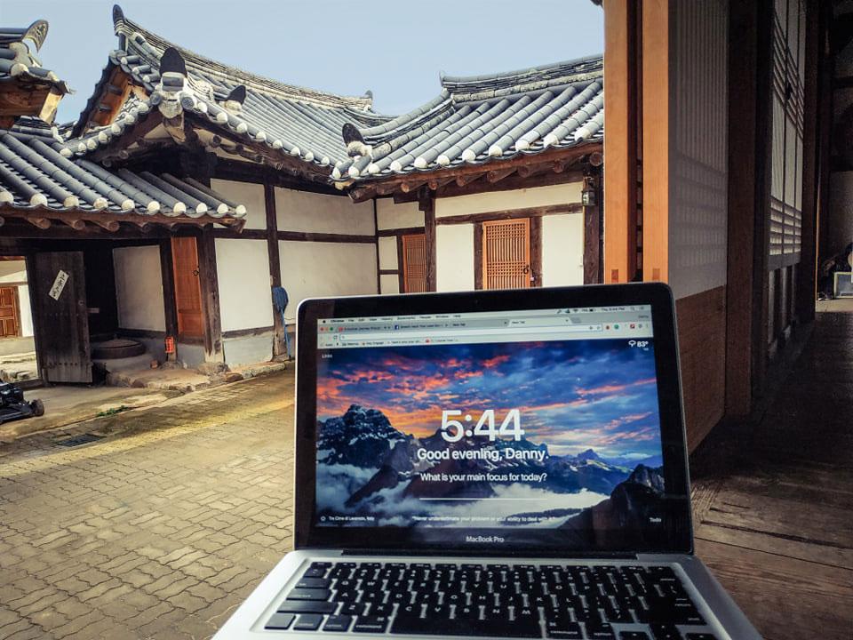 "My ""office"" in the hanok village of Sachon-ru, South Korea."