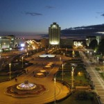 Minsk plaza at night.