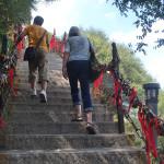 Walking up Mt Huashan.