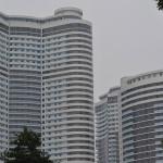Apartment buildings inside Pyongyang, North Korea.