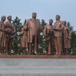 Memorial statues to North Korean leaders.