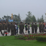 Soldiers and people gathering in Pyongyang.