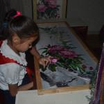 Children studying art in Pyongyang.