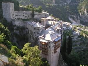 Aerial view of one of Mount Athos' 30 monasteries.
