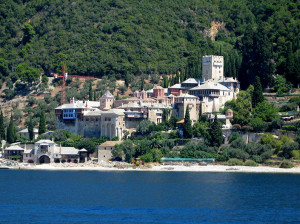 View of Mount Athos monastery from the sea