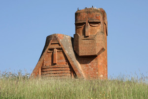 The Nagorno Karabakh statue outside of Gandzasar, Armenia.