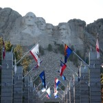 Mt. Rushmore as seen from below.