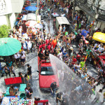 All out water fight in Bangkok, Thailand during the Songkran festival.