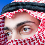 Saudi Arabian man wearing a gutra.
