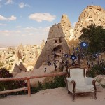 View from rock hotel in Cappadocia.