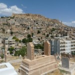 View of Mardin with Citadel on the hill top seen from cemetary