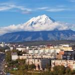 Petropavlovsk-Kamchatsky with Koryasky volcano in the background.