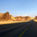Saudi Arabian road through mountains and deserts.