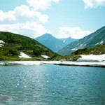Lake Baikal and mountain range, Russia.