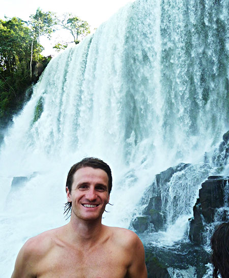Danny Flood, at Iguazu falls in Brazil.