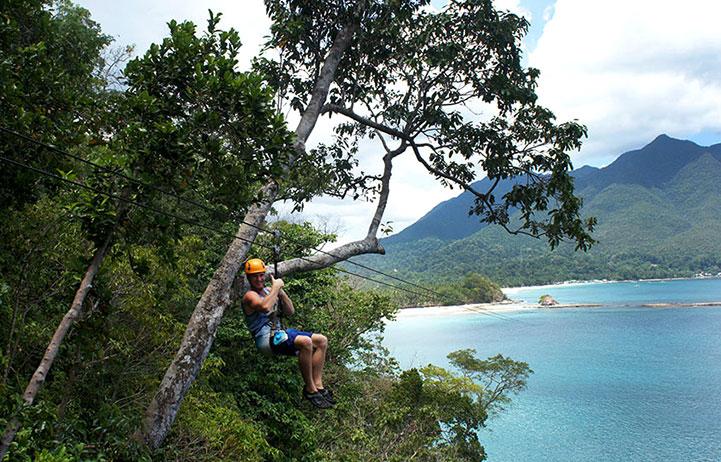 Danny Flood ziplining in the Philippines.