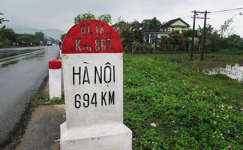 The road to Ha Noi, somewhere near the central town of Hue.