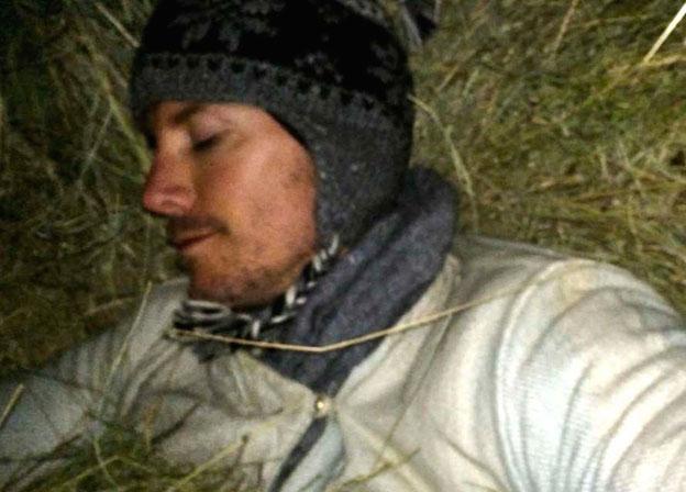 Justin Alexander, sleeping in a cave in Mustang, Tibet.