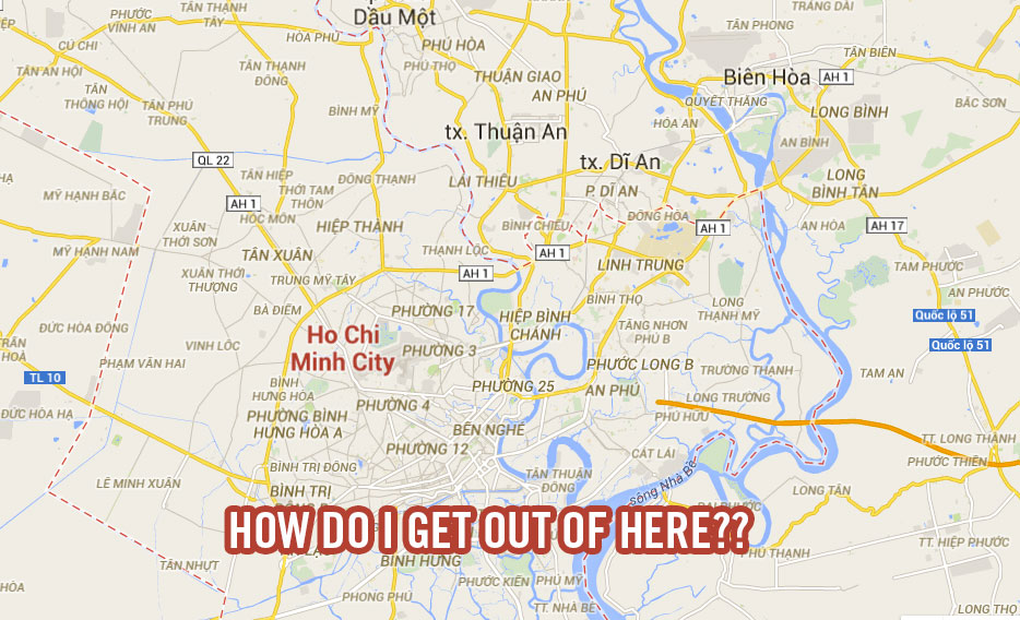Google Map of Ho Chi Minh City.