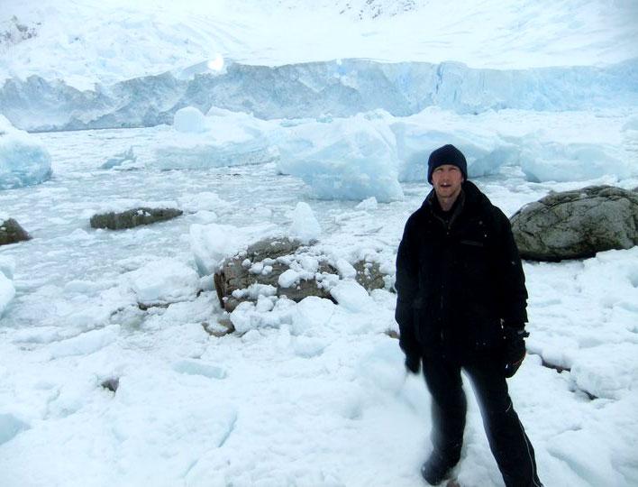 Jonny Blair in Neko Harbor, Antarctica.