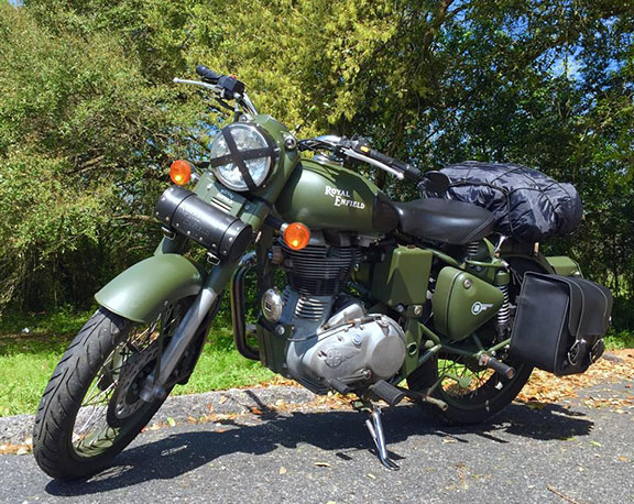 Justin Alexander's motorcycle for his pan-American trip.