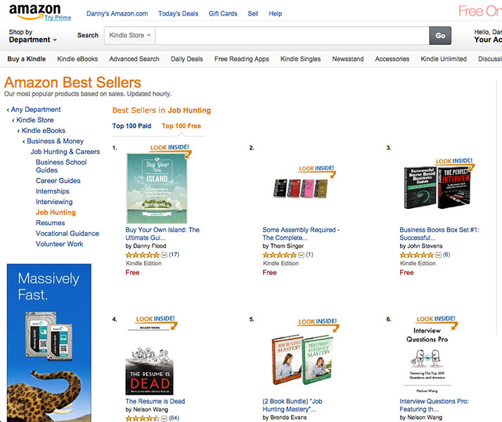 Buy Your Own Island #1 on Amazon charts for Job Hunting