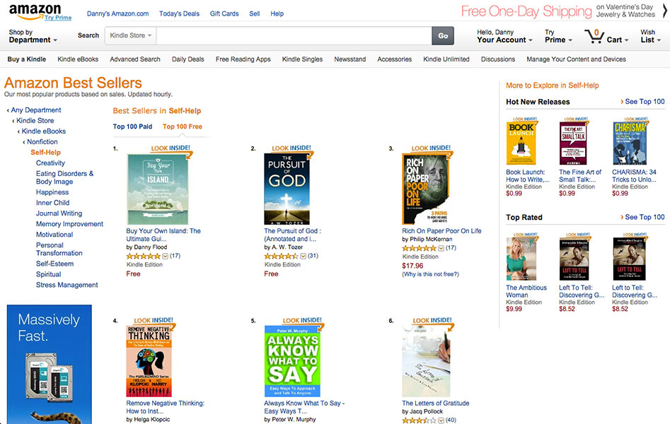 Buy Your Own Island #1 on Amazon charts for Self-Help