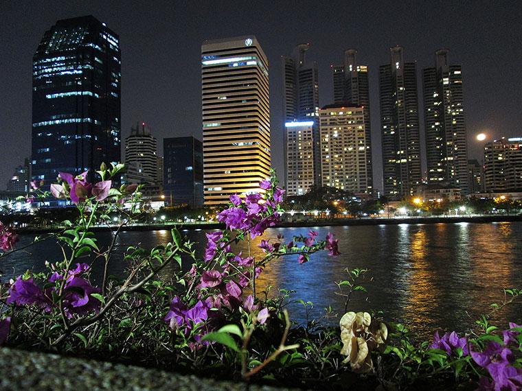 Benjakiti park in Bangkok at night time.