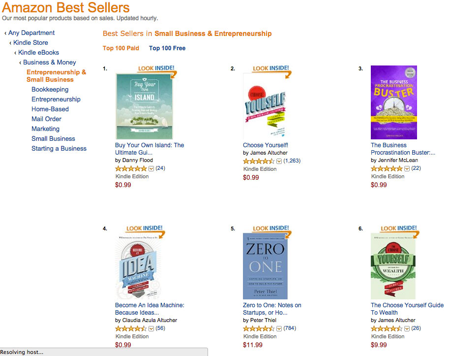 """Buy Your Own Island"" best-selling paid book on Amazon."