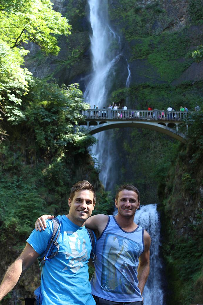 With my host Zeke at Multnomah falls, Portland, Oregon