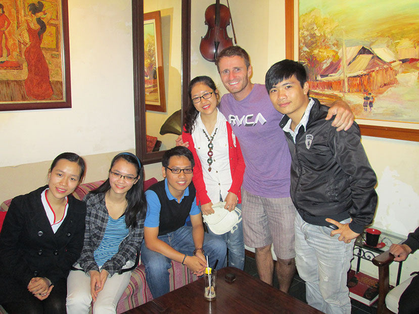 With Couchsurfing friends in Hanoi.