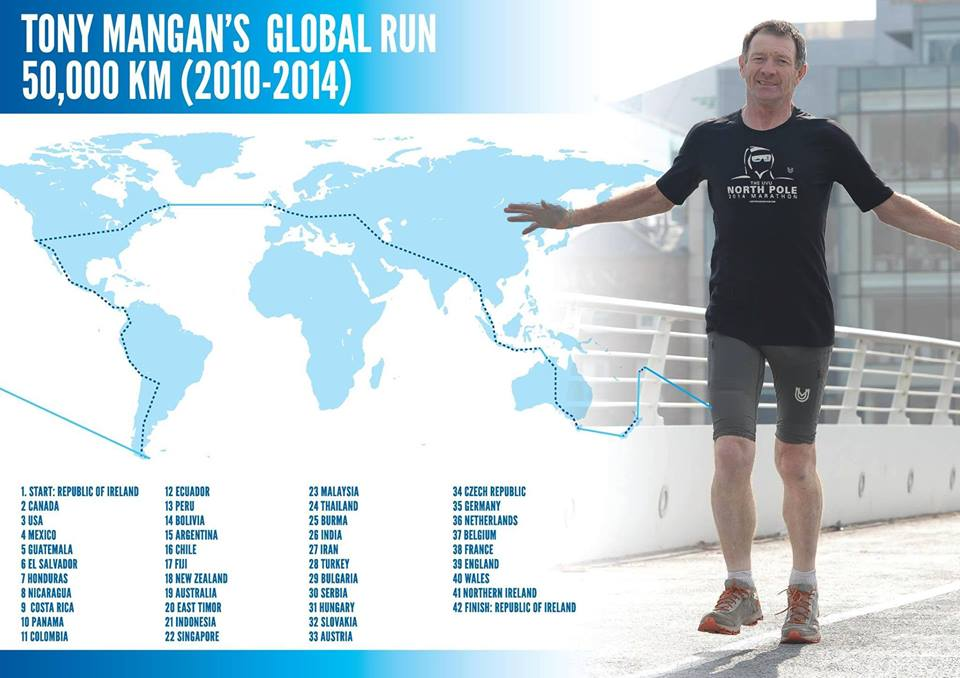 Tony Mangan completed his world run, running further than any human being in his epic adventure.
