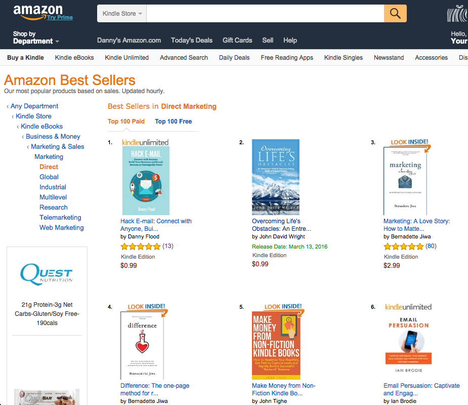 Hack E-mail by Danny Flood, #1 bestselling book on Amazon